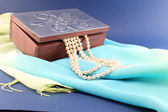 Silver box and pearl necklace — Stock Photo