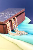 Silver box and pearl necklace closeup — Stock Photo