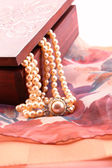 Ornate box and pearl necklace detail — Stock Photo