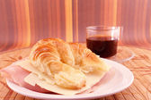 Snack with coffee and croissant — Fotografia Stock