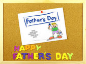 Happy Father s Day phrase on a corkboard — Stock Photo