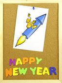 Happy New Year phrase on a corkboard — Foto Stock