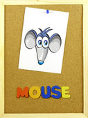 Palavra do mouse em um quadro de cortiça — Foto Stock