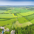 Idyllic rural, aerial view, Cotswolds UK — Stock Photo