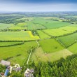 Idyllic rural, aerial view, Cotswolds UK - Stock Photo