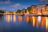 Starry night, tranquil canal scene, Amsterdam, Holland — Stock Photo