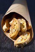 Italian cookies - biscotti in a paper bag — Stock Photo