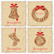 Vintage New Year set of cards with a bell, ball, Santa sock and wreath.  — Stock Vector