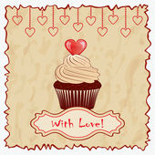 Vintage Valentine's day greeting card. Vector eps10 illustration. — Stok Vektör
