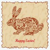 Vintage easter rabbit made of leaf pattern. — Stock Vector