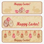 Vintage Easter horizontal banner set. — Stock Vector