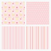 Set pink confectionery seamless background. — Stock Vector