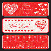 Valentine day web horizontal banner set. — Stock Vector