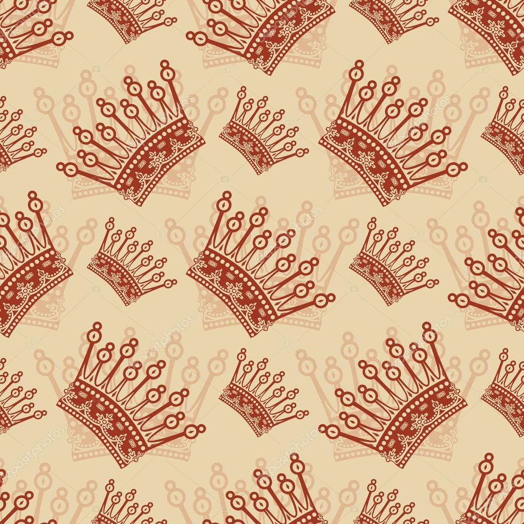 Vintage seamless background with crown pattern. Vector illustration ...