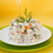 Salad Olivier. Vegetable Salad. — Stock Photo