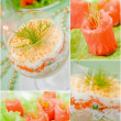 Food collage. Cod liver salad with eggs, carrots, cheese, onions and potatoes. Salad with sour cream. Mimosa salad. Appetizer of salmon fish. — Stock Photo