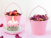 Beautiful spa setting with pink candle and rose petals. Collage. — Stock Photo