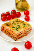 Italian lasagna with meat and tomatoes. Macro. — Stock Photo