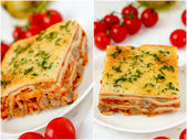 Italian lasagna collage with meat and tomatoes. — Stock Photo