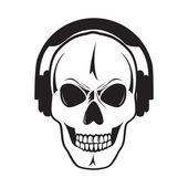 Jolly skull with headphones. Isolated object.Œ — Stock Vector