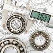 Measurement of diameter of the bearing — Stock Photo