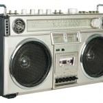 Vintage radio cassette recorder isolated on white — Stock Photo