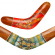 Two wooden australian boomerangs on white — Stock Photo