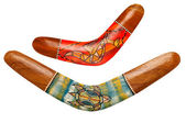 Two wooden australian boomerangs on white — Foto Stock