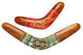 Dois boomerangs australianos em branco — Fotografia Stock