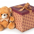 Teddy bear with gift on white background — Stock Photo #38874151