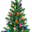 Decorated Christmas fir-tree isolated on white background — Stock Photo