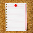 Lined paper on a cork board. Closeup — Stock Photo #42994127