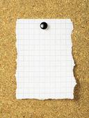 Note paper on a cork board. Closeup — Stock fotografie