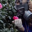 Stock Video: Girl in gas masks smells roses