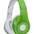 Green headphones isolated on a white background — Stock Photo #19254853