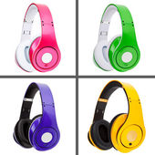 Collage of headphones different colors — Stockfoto