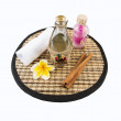 Spa background with bath salts, a towel and a candle — Stock Photo #25073523