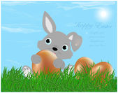 The Easter bunny with Easter eggs — Stock Vector