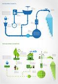 Zielonej energii, ekologia informacji graficznych kolekcji — Wektor stockowy