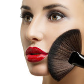 Makeup. Make-up closeup. Cosmetic Powder Brush. — Stock Photo