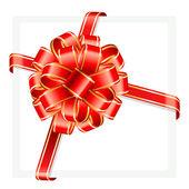 红色和金色矢量礼物弓和功能区. — 图库矢量图片