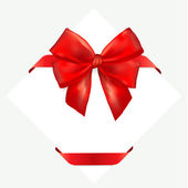 Red gift bow with ribbon. — Stock Vector