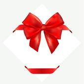 Rode geschenk boog met lint. — Stockvector