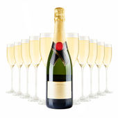 Champagne bottle and champagne glasses — Stock Photo