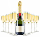 Champagne bottle and champagne glasses — Foto Stock