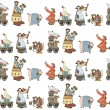 Seamless pattern with Illustrated group of comical animals and inhabitants of the farm. - Stock Vector