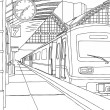 The train at the railway station. - Imagen vectorial