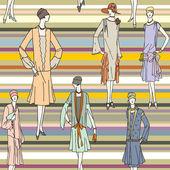 Vecteur de texture transparente avec des filles fashion style croquis. — Vecteur