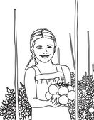 Adorable little girl picking tomatoes in a garden. — Stock Vector