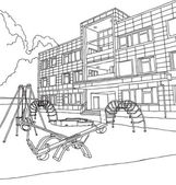 Kindergarten building. vector illustration. drawing by hand. — Stock Vector